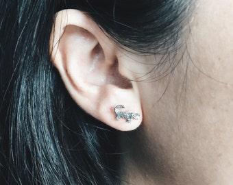 Crocodile ear studs, Silver crocodile earrings, Croc ear studs, Silver crocs, Silver jewelry (ES79)