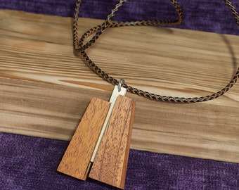 Wood Pendant Necklace--Contemporary Jewelry--Made from Mahogany and Maple
