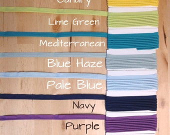 Piping, Maxi Piping, Bias Piping, cream, yellow, pink, purple, blue, green, navy, half inch wide by 2.5 yards