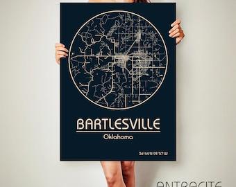 BARTLESVILLE Oklahoma CANVAS Map Bartlesville Oklahoma Poster City Map Bartlesville Oklahoma Art Print Bartlesville Oklahoma poster