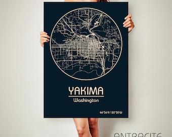 YAKIMA Washington CANVAS Map Yakima Washington Poster City Map Yakima Washington Art Print Yakima Washington