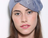 Wide Soft Denim Flower Headband/ Denim Headwear/ Jean Hair Accessories/ Head coverings for women/ Head Scarf/ (0737)