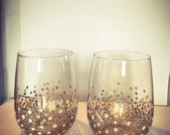 New Year's Eve Confetti Wine Glasses