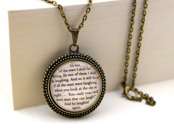 The Little Prince, 'In One of Those Stars I Shall be Living', Antoine de Saint-Exupéry Book Quote Necklace.
