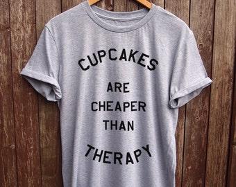 Cupcake Therapy T shirt Black - funny cupcake print t-shirts, funny t-shirt, cupcake graphic tee, funny slogan tshirt, baking gifts, quote