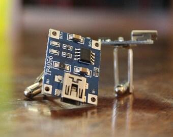 Circuit Board Cufflinks, Computer Nerd Cuff Links