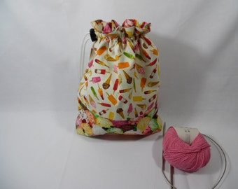 Drawstring project bag for knitting or crochet
