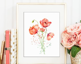 Watercolor abstract red poppy with paint splatter, wall art, poppy printable (Poppy 1-3)