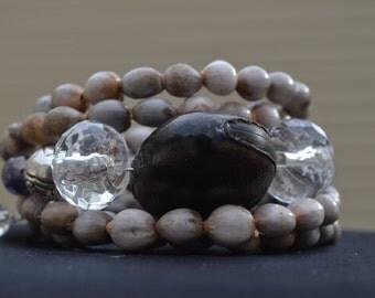 Deer Eyes Bracelet, pink tears seed, glass beads bracelet, brown bracelet, hippie bracelet, gipsy style bracelet