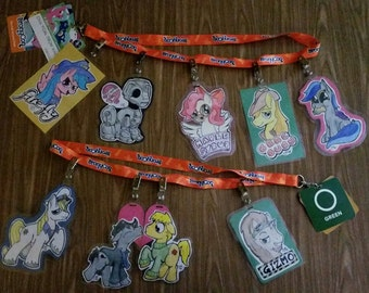 Custom, Hand-Drawn, My Little Pony Conbadges