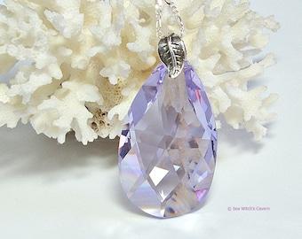 Swarovski Prism Necklace with Sterling Silver | Lilac Crystal Teardrop Pendant | Crystal Statement Necklace | A0345
