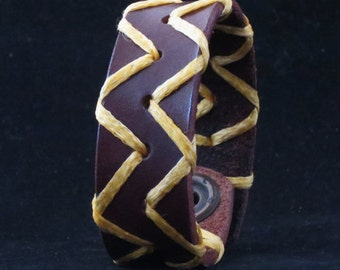 Leather Bracelet Cuff Wristband Brown With Laced Bast Pattern Gift For Her Gift For Him