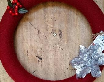 "BLOWOUT SALE! 16"" Christmas Flower Wreath, Christmas Yarn Wreath, Holiday Wreath Holiday Decor Red Yarn Wreath Free Shipping Christmas Decor"