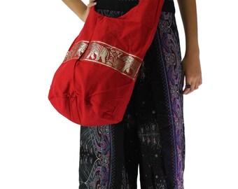 shoulder bag elephant bag cross body bag hippie bag in red