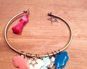 "Charm bracelet ""clouds and stars"""