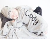 Baby boy personalized grey newborn gown or bodysuit, Baby boy shower gift, baby boy take home outfit, baby boy knit hat, hat sold seperate