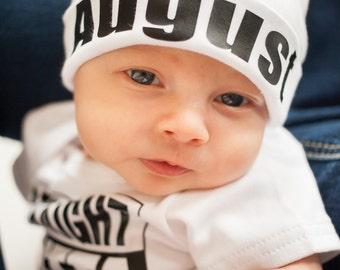 Newborn Boy Name Hat...newborn baby hat...personalized newborn hat...new baby hat...baby boy hat...take home hat...newborn photo prop hat