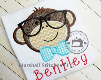Boys Monkey Shirt/ Nerdy Monkey Shirt/ Monkey Shirt/ Monkey Birthday shirt