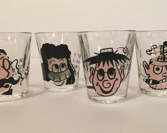 Set of Four Kitschy Roving Eye Shot Glasses | 1960s