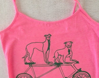 Pit Bull Tank- Greyhound Tank- Bike Riding Dogs Tee- Pit Bull Gift- Greyhound Gift- Bicycle Tee- Bicycle Gift- Dog Lover Tee- Hand Drawn