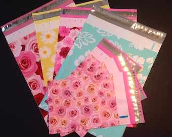 200 Assorted Designer Poly Mailers 10x13 And 6x9  Flowers Hibiscus Roses Daisies  Each Envelopes Shipping Bags