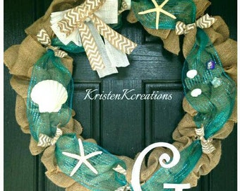 Sea Shell Wreath | Monogrammed Wreath | Beach Wreath | Burlap Wreath | Front Door Wreath