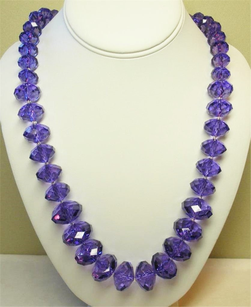 Joan rivers necklace dark purple graduated faceted stones for Joan rivers jewelry necklaces