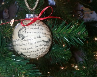 Little House on the Prairie Book pages Christmas ornament, vintage and rustic