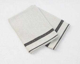 Tea towel set of 2, Grey linen-cotton towel, natural towel, Kitchen towel, Scandinavian style
