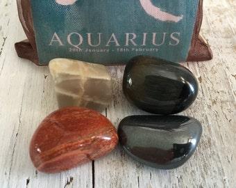 AQUARIUS Zodiac Stone Set | Horoscope Zodiac Kit, Crystal Healing Gemstone Kit | Mediation Stones