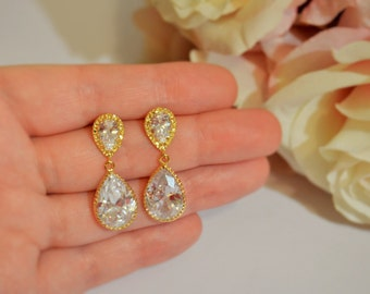 Wedding Jewelry Bridesmaid Jewellery Bridesmaid Earrings Bridal Earrings Gold Plated Cubic Zirconia Tear Drop Dangle Stud Earrings Gift