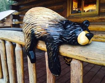 Chainsaw carved rail bear