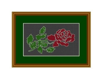 Red Rose Counted Cross Stitch Pattern. PDF Instant Download. Nature. Decor Pattern.