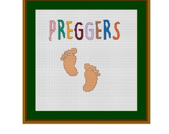 Preggers. Counted Cross Stitch Pattern. PDF Instant Download. Baby Shower Gift. Prego. Pregnancy Reveal.