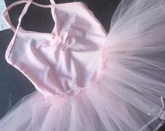 Ballet leotard dress with tulle tutu pink 3/4/5/6/7 years