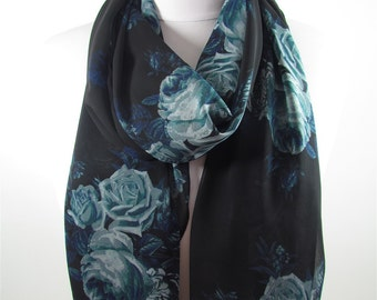 Floral Scarf Black Chiffon Scarf Shawl Women Infinity Scarf Rose Scarf Goth Scarf Gothic Women Fashion Accessories Christmas Gift For Her