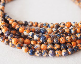 Strand Gemstone Beads Jade Dyed Orange Blue Round Size 6mm Quantity 64 Beads