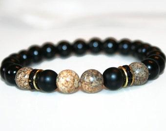 Mala Bead Bracelet Man Bead Bracelet Men Bracelet Jasper Bracelet Man Onyx Bracelet Gift for Man Bracelet for Him Onyx Jewelry for Boyfriend
