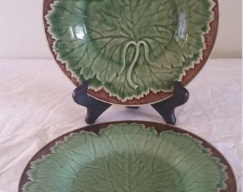 bordallo pinheiro grape leaf plates/green plates/grape leaf plate/ceramic plates