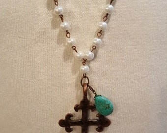 Pearl Necklace - Bronze Cross with Turquoise Charm