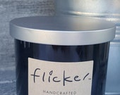 Teak Bamboo - 100% Soy Wax - Scented Candle - Crackling Wood Wick - Double Wick - 10 oz Jar - Handcrafted - Glossy Black Glass Jar