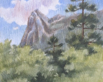 Original Watercolor on Cradled Aquabord, Landscape Painting, Mountain Landscape, Lily Rock in Idyllwild, Signed and Varnished, Ready to Hang