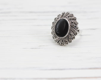 Vintage Art Deco Onyx  Ring w/ Pave Marcasite