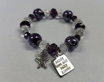 Sandy Toes and Salty Kisses Purple Beaded Bracelet