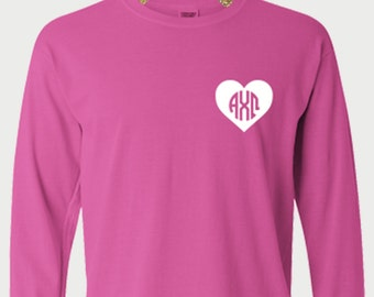 alpha chi omega comfort colors long sleeve shirt aco monogram sorority pajama top alpha chi omega letters night shirt