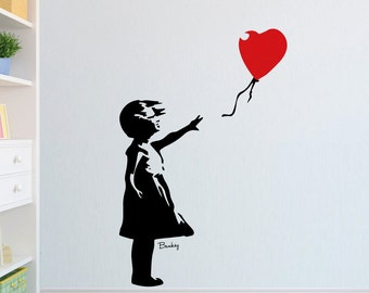 BANKSY 'Childhood' London Street Art style - Girl with the Red Balloon - Vinyl Wall Stencil Art Graphic Decal