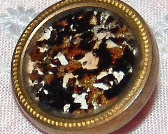 Very Scarce Antique Parfait Drum Button ~ Gilt Brass ~ Genuine Gold Flecks Under Glass ~ DUG Button ~ Just Lovely!