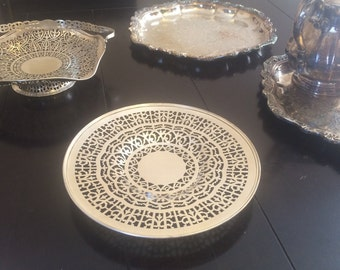 Vintage Pierced Silver Plated Tray