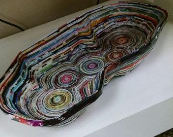 Recycled magazine art decorative bowl