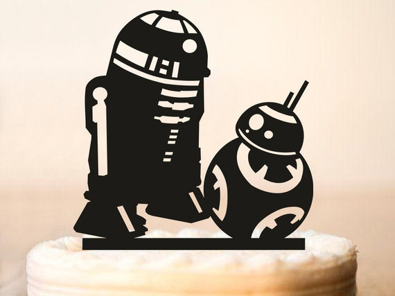 r2d2 and bb8 wedding cake topper r2d2 amp bb8 cake topperstar wars wedding cake topperstar 18949